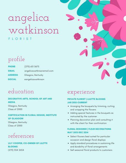 Bright Pink and Turquoise Colorful Floral Resume - Templates by Canva
