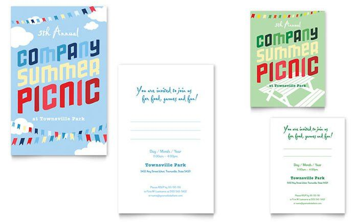 Company Summer Picnic Note Card Template Design