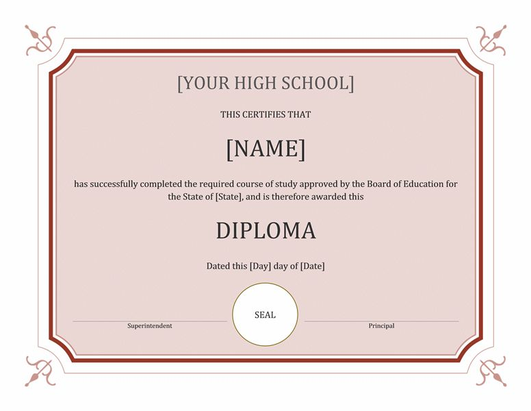 High school diploma certificate (formal) - Office Templates