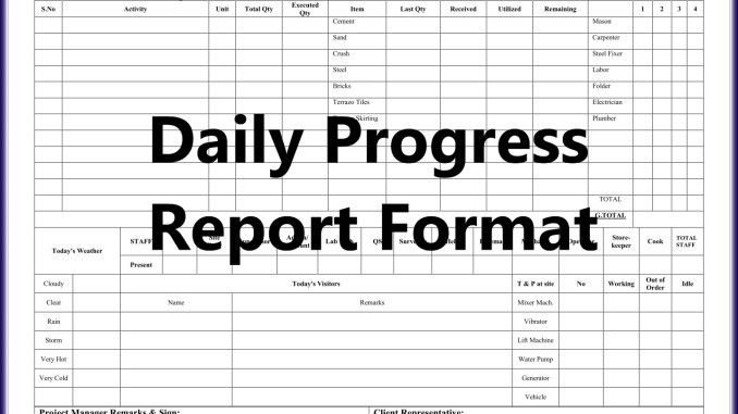 Daily Work Report Format