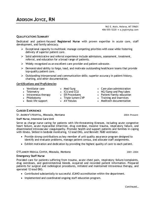 Nursing Resumes Examples. Chic Ideas Registered Nurse Resume 2 ...