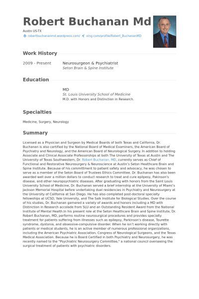 Neurosurgeon Resume samples - VisualCV resume samples database