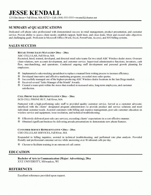 Phone Sales Manager Resume