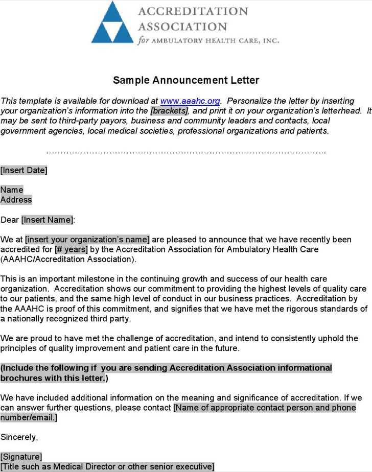 Best Organizational Announcement Samples Ideas - Best Resume ...