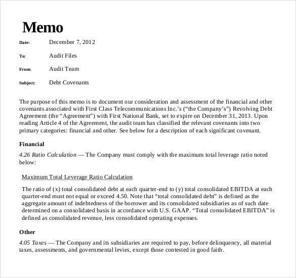 10+ Audit Memo Templates – Free Sample, Example, Format Download ...
