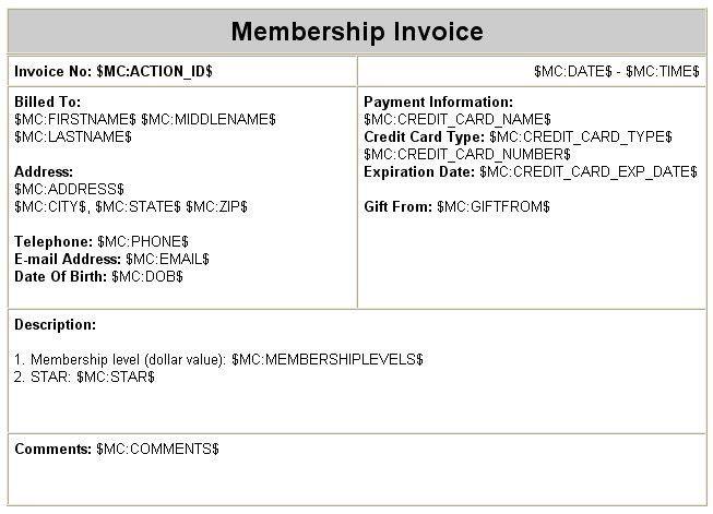 Membership Invoice Template