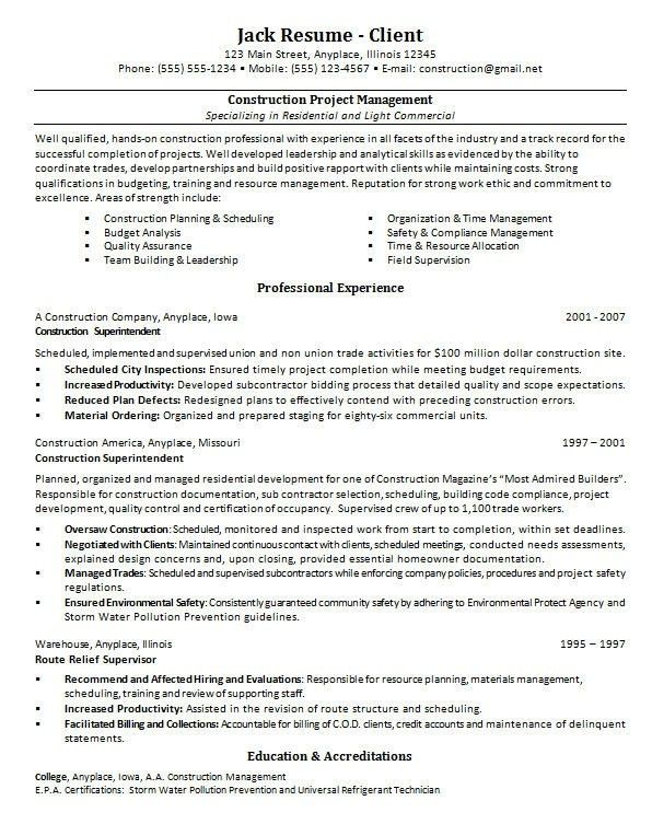 Construction Project Manager Resume Examples. Construction Project ...