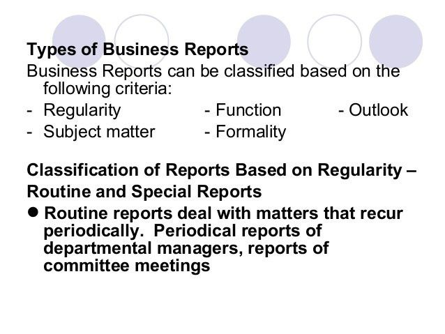 THE ECOLOGY OF BUSINESS REPORTS