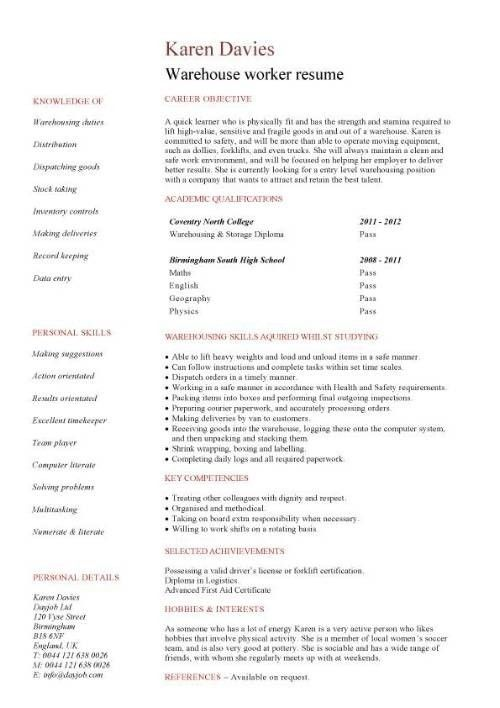 Warehouse Associate Resume Objective | Template Design