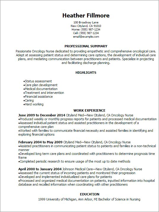 Professional Oncology Nurse Resume Templates to Showcase Your ...