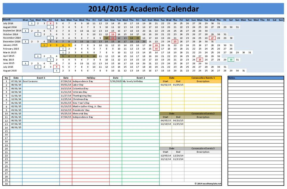 Excel Calendar Templates | cyberuse