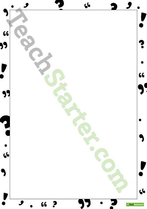 Punctuation Page Border - Word Template Teaching Resource – Teach ...