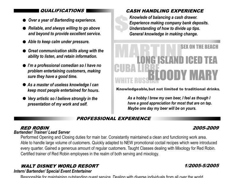 bartending resume with no experience