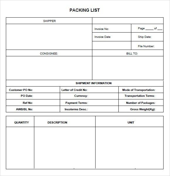 7+ Packing List Templates - Word Excel PDF Templates