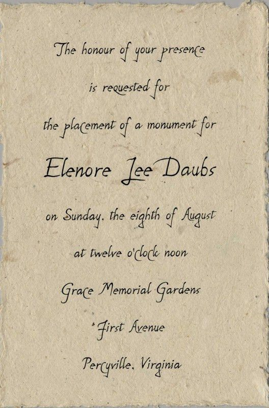 Memorial Invitations from Handmade Paper Wedding Invitations ...