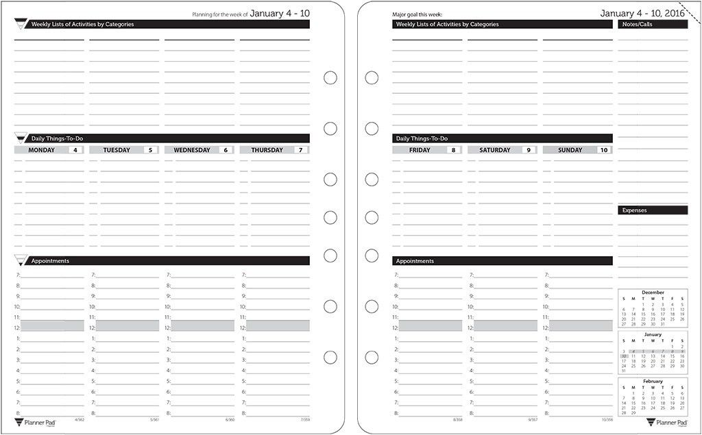 Planner Pads: Loose Leaf Organizer Black Ink Style Personal Size