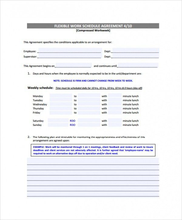 Sample Weekly Work Schedule Template - 7+ Free Documents Download ...