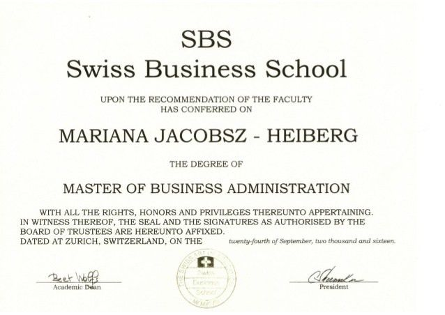 Master Degree in Business Administration(Certificate)