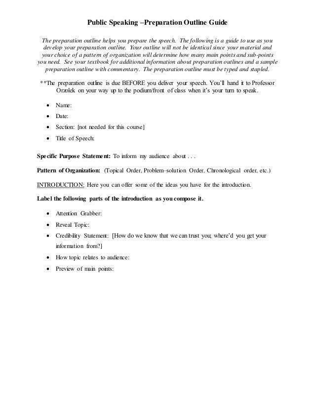 Speech Outline Template. Informative Speech Outline Template ...