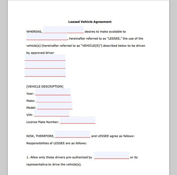 7 Best Images of Vehicle Lease Purchase Agreement Form - Sample ...