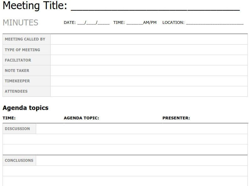 Minute Taking Template. how to write sample meeting minutes 8 free ...
