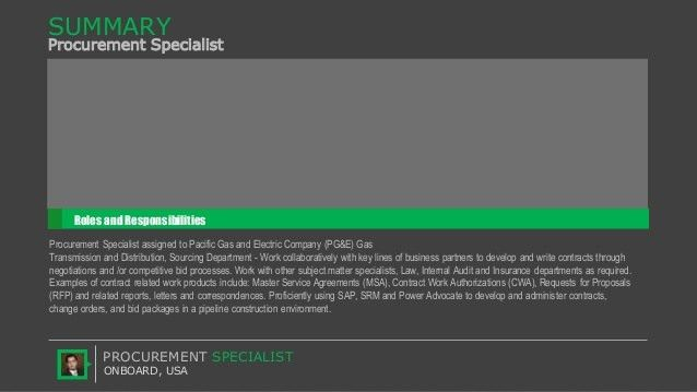 Procurement Specialist Roles and Responsibilities at PG&E