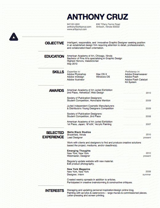 Design Inspiration: The Art of the Résumé | Design inspiration, Cv ...