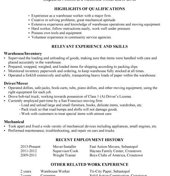 Warehouse Resume Sample [Template.billybullock.us ]