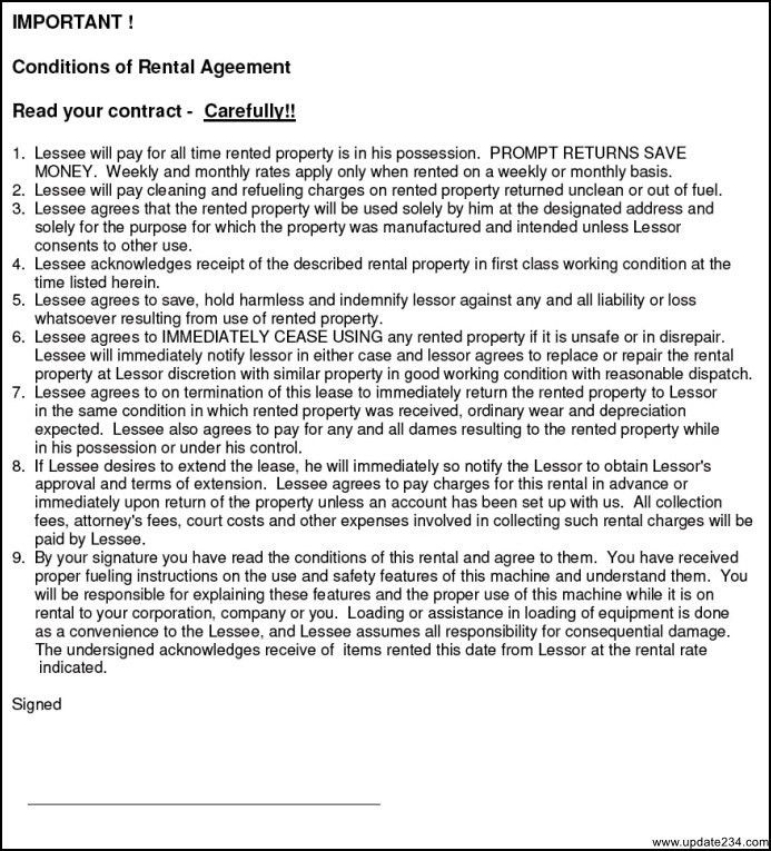 Simple Equipment Rental Agreement Template Free - Template ...