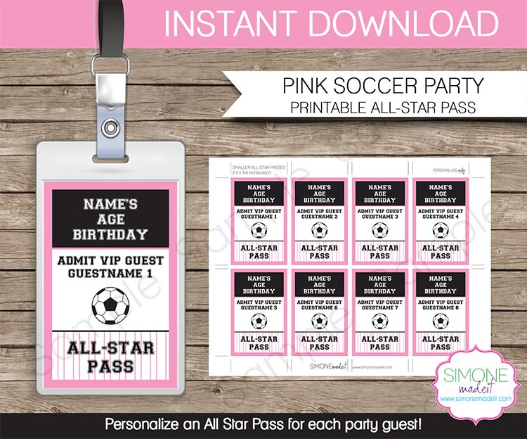 Soccer Birthday Party All Star VIP Passes template | Favors