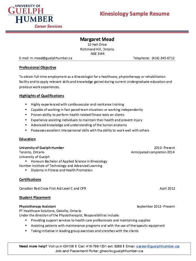 Kinesiology Sample Resume - http://resumesdesign.com/kinesiology ...