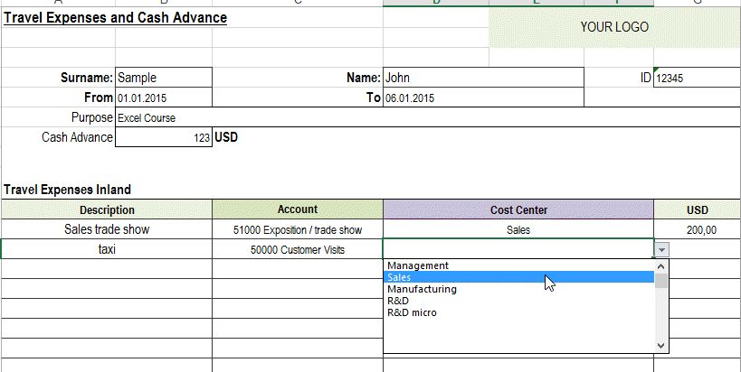 Excel Template - Free Travel Expense Report Template for Microsoft ...