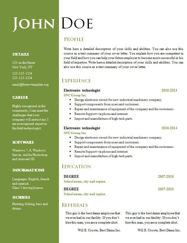 Awesome Word Document Resume Template 42 For Resume Templates Free ...