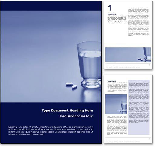 Glass of Water & Pills Word Template in Blue