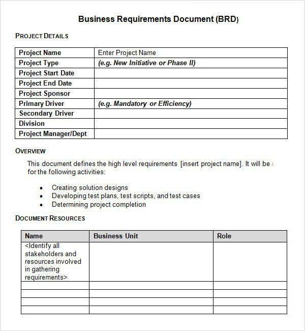 Functional Requirements Document Template | Template Design