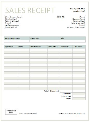 Sales Receipt Template - Free Printable Receipts
