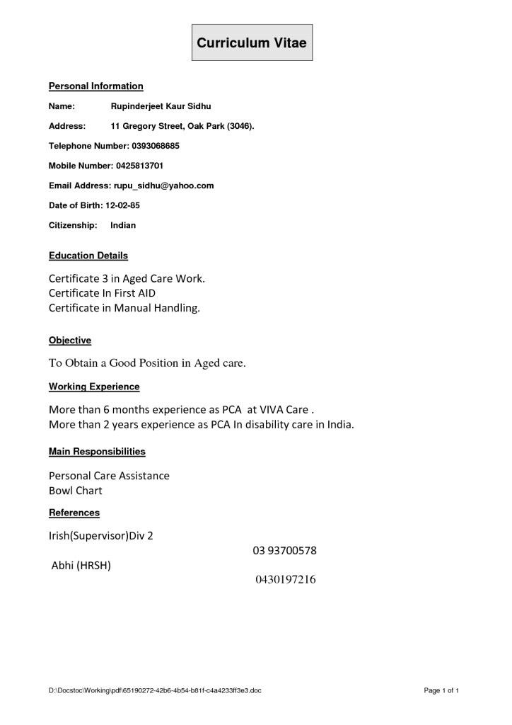 Aged Care Resume | The Best Resume