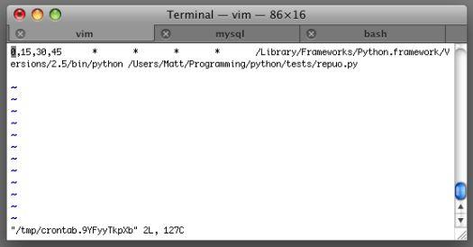 Python with crontab on Mac OS X 10.5.1 Leopard – Matt Mazur