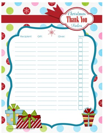 Printable Christmas Thank You Note Organizer - Organizing Homelife