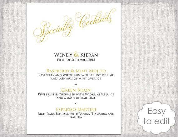 Cocktail Menu template Printable gold wedding signature drinks