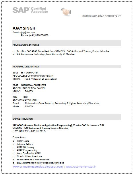 A Good Resume Template of a SAP Consultant with BE in Computer's ...