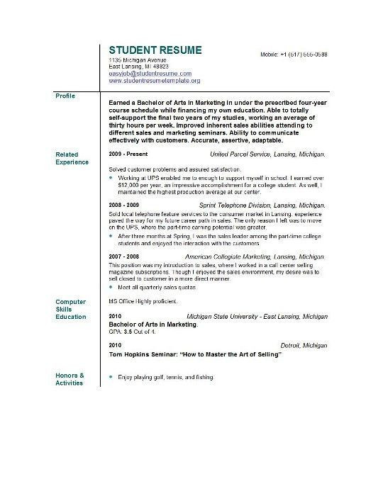 Examples Of Resumes For Students. How To Make A Resume For College ...