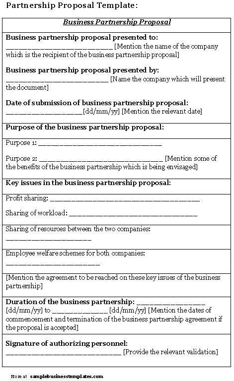 Exceptional Business Partnership Proposal Template | Sample Business Templates