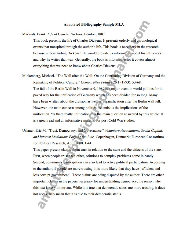 Annotated bibliography example in mla format