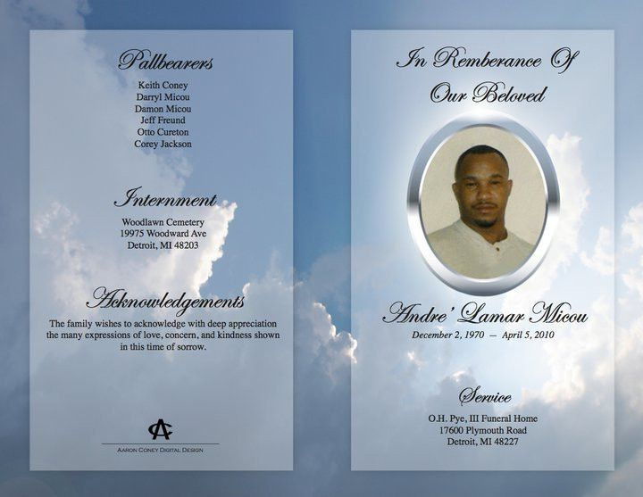 Downloadable Funeral Bulletin Covers | Funeral Program (Outer ...
