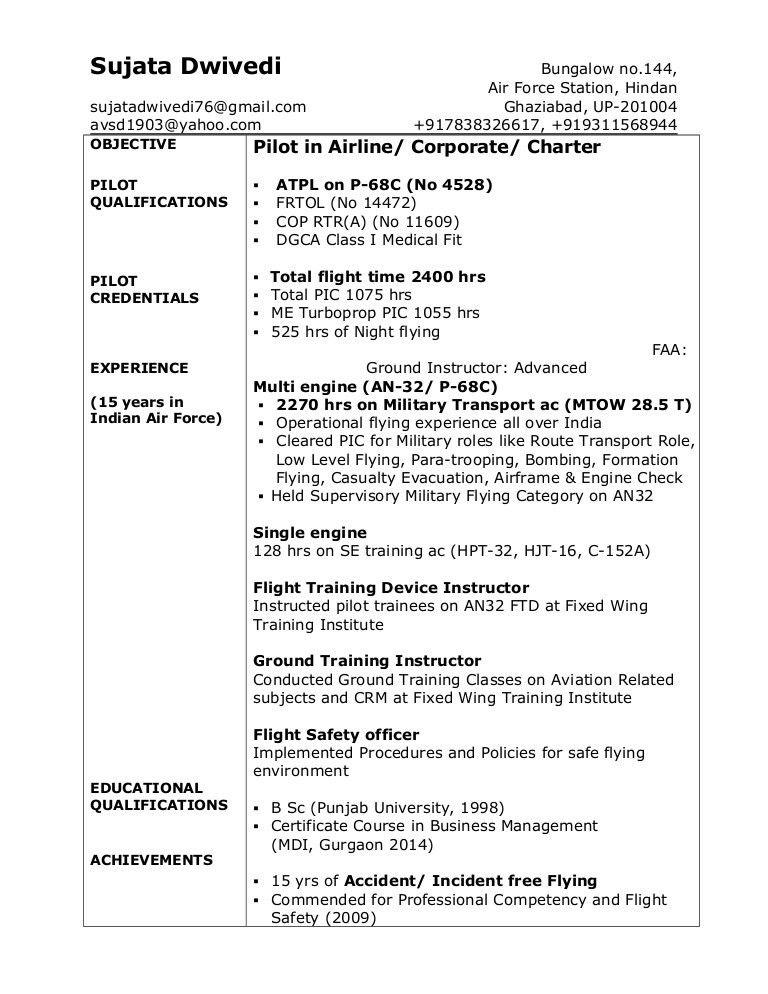 Sujata Dwivedi Pilot Resume