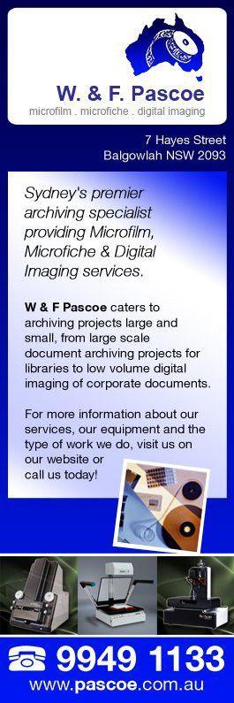 Pascoe W & F Pty Ltd Imaging - Document Scanning - 7 Hayes St ...