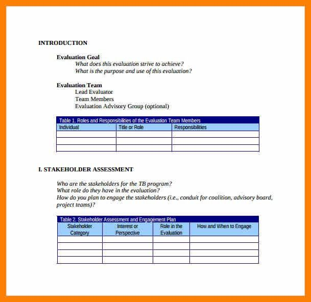 6+ evaluation plan sample proposal | army memo format