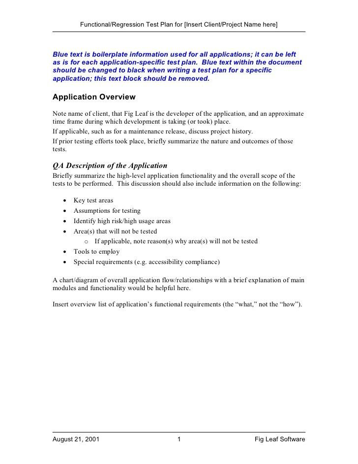 Fig Leaf Software FUNCTIONAL/REGRESSION TEST PLAN TEMPLATE ...