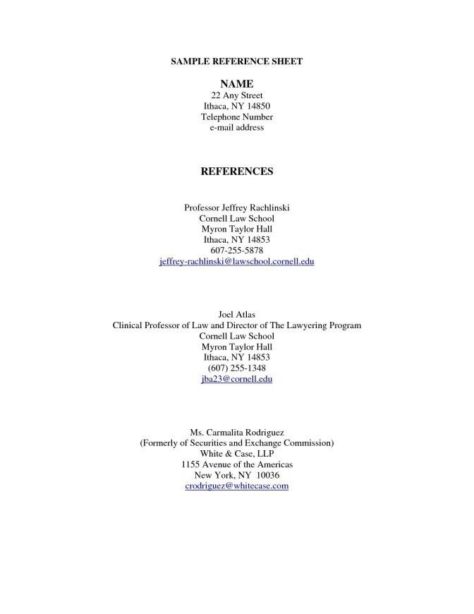 Sample Reference Page For Resume | jennywashere.com